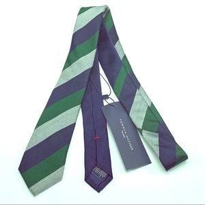 Tommy Hilfiger necktie tie silk blue green tailor